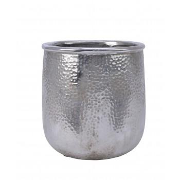 Doniczka ceramiczna srebrna